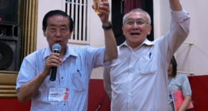 乾杯する川合県連副会長と安永連合会長