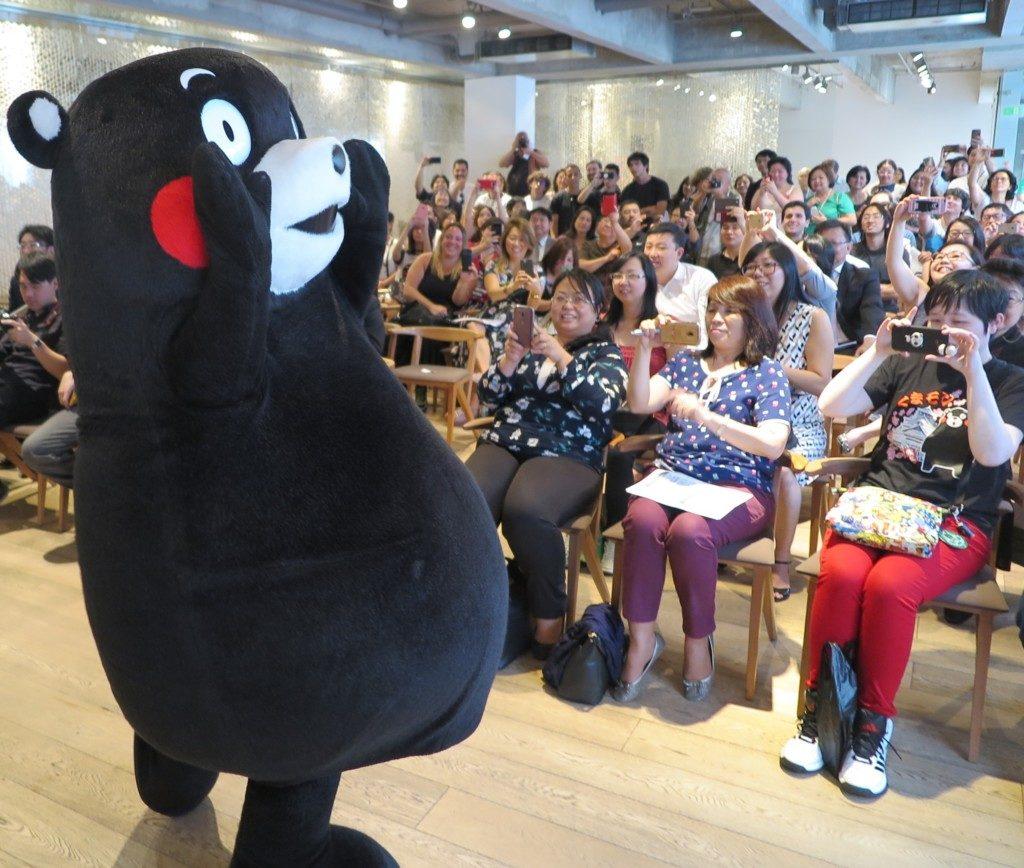 ジャパン・ハウスで小野副知事が講演した後に登場したくまモン