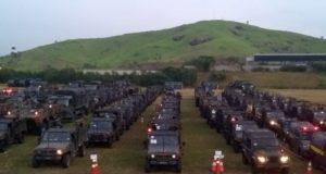 出動に備える軍の車両(SECOM/COMANDO MILITAR DO LESTE)