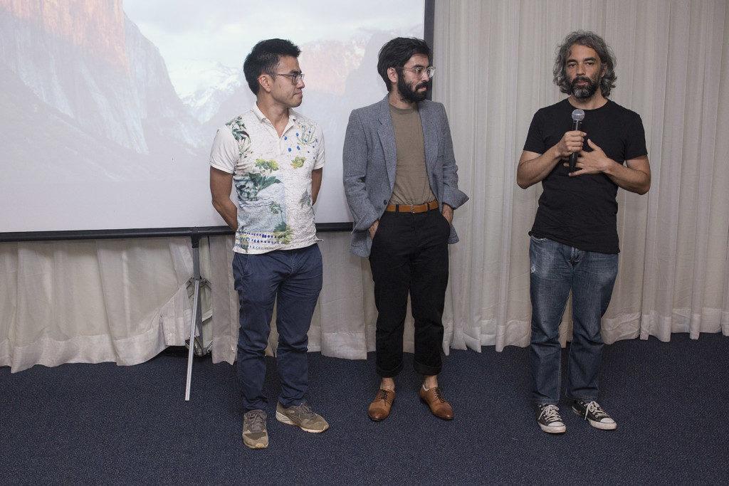 左から中原アレシャンドレさん、知念ペドロさん、コスタ監督(提供写真)