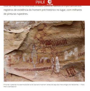 博物館開設を報じたG1サイトの記事の一部(セーラ・ダ・カピヴァラ国立公園内に残されている壁画)