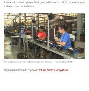 カタンドゥーヴァ市の扇風機製造工場(20日付G1サイトの記事の一部)