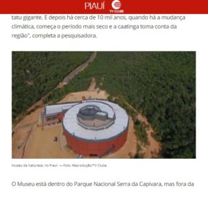 博物館開設を報じたG1サイトの記事の一部(上空から見た自然博物館)
