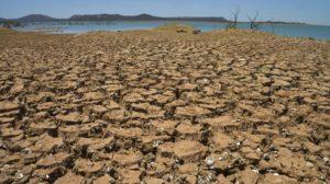 干ばつ続きで底がひび割れたソブラジーニョの貯水ダム(Marcello Casal Jr./Agência Brasil、9/12/2015)
