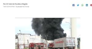 火災を報じるG1サイト