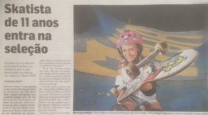 「11歳の少女ブラジル代表に!」の見出しでビクトリアちゃんの活躍を伝えるブラジル紙