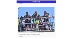 サルバドールのアラスタンをリードした歌手の一人、レオ・サンターナ(中央)(7日付G1サイトの記事の一部)