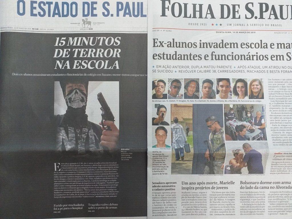 学校で10代の生徒5人を含む8人が殺され、犯人2人も自殺した事件の翌日、各紙は事件報道一色になった。