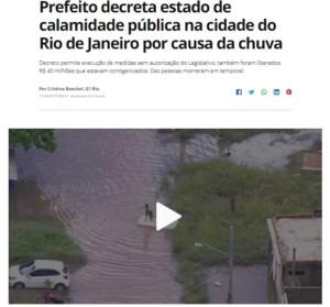 クリヴェラ市長が非常事態を宣言した事を報じる11日付G1サイトの記事の一部