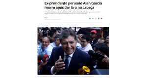 ガルシア氏が自殺した事を報じる17日付G1サイトの記事の一部