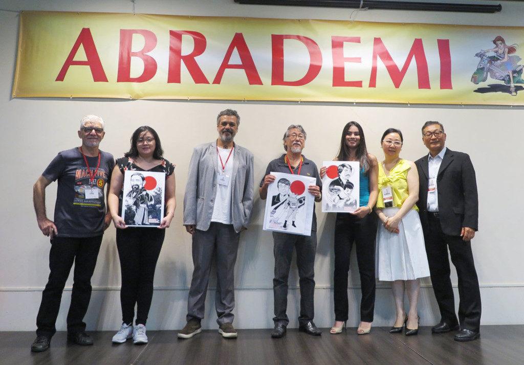 3月17日のブラジル漫画家協会(Abrademi)35周年で顕彰されたEDREL出版の関係者