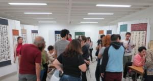 ブラジル人でごった返す書道展示