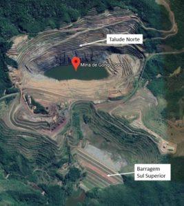 ゴンゴ・ソコ鉱山とスル・スペリオル鉱滓ダムの位置関係を示す模型(Vale/Divulgação)