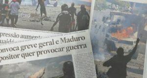 反政府のデモ隊に治安部隊の装甲車が突入する様子を報じたブラジル紙