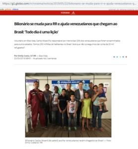 5月22日付G1サイトの記事には、難民家族らと共に写真に納まるウィザード氏(後列右から2人目)の姿も