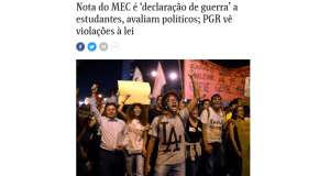 デモを報じる5月31日付フォーリャ紙サイト