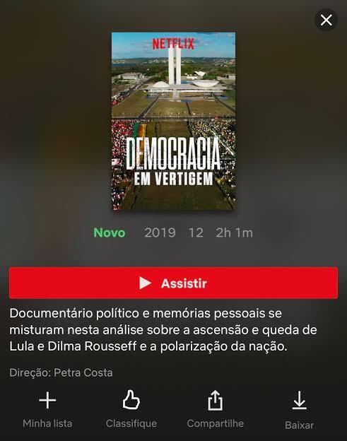 「消えゆく民主主義」のネットフリックス・ブラジルでの紹介画面