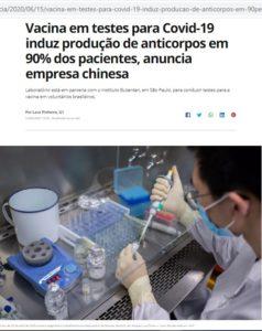 ワクチン開発に励む中国の製薬会社の研究者(15日付G1サイトの記事の一部)