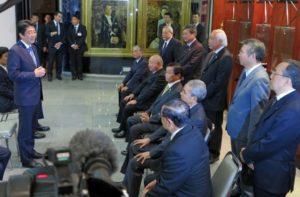 2014年8月、移民史料館で5団体代表を前に「日伯の太い関係を作りたい」と語る安倍首相