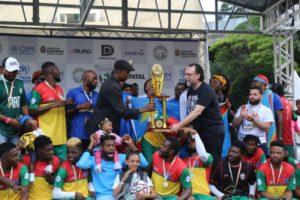 2019年の難民サッカーワールドカップ・サンパウロ大会の表彰式