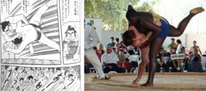 左:『グリンゴ』最終章に出てくる相撲の場面; 右:2008年7月20日にサンパウロ市で開催されたブラジル相撲選手権大会の取り組みの様子