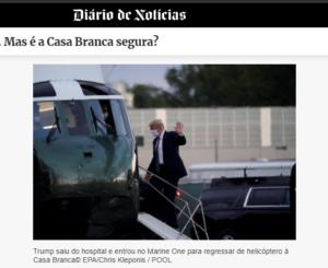 回復前なのに退院し、ヘリに乗り込むトランプ氏(6日付ジアリオ・デ・ノチシアの記事の一部)