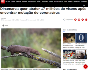 ミンクの殺処分について報じたCNNブラジルの記事の一部
