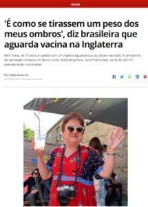 予防接種を待つイギリス在住のブラジル人女性(8日付G1サイトの記事の一部)