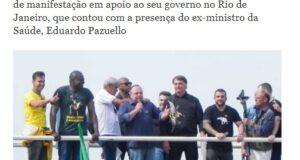 大統領に招かれて壇上で語るパズエロ氏(23日付ジョルナル・ド・ブラジルの記事の一部)