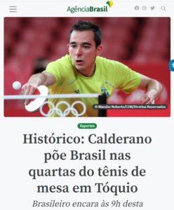 ウゴ・カルデラノが卓球でブラジル初の準々決勝進出を達成と報じる27日付アジェンシア・ブラジルの記事の一部
