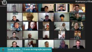 18日のクリチバ市議会オンライン式典の様子