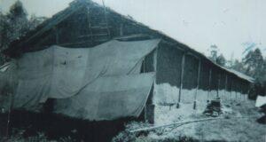 鶏舎を改造した初期のマッシュルーム栽培菌舎。壁に泥を塗りたくって断熱