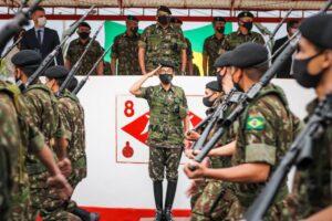 8月20日、ウルグアイアーナでの亀井司令官の着任式の様子(提供写真)
